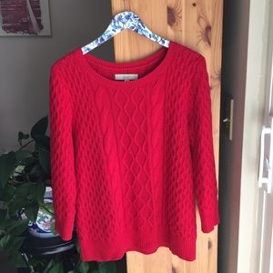 Loft Red Wool Blend Cable Sweater, Size Large